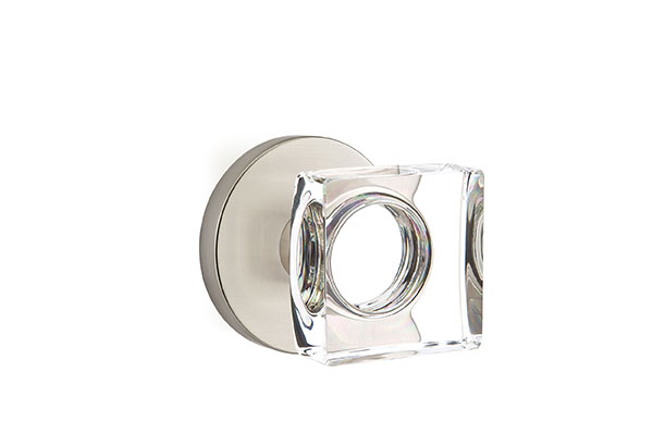 Modern Square Crystal with Disk Rosette shown in Satin Nickel