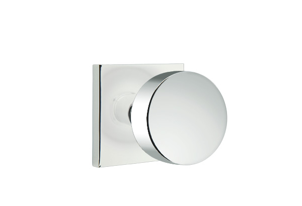 Round Knob with Square Rosette shown in Polished Chrome